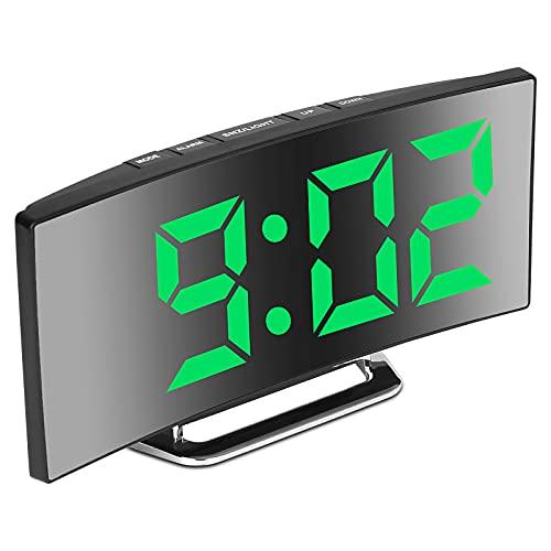 Sveglia digitale, grande schermo a specchio LED da 7  , 2 luminosità, 12 24 ore, temperatura, data, luce notturna, posticipo, ricarica USB e alimentazione a batteria (verde)