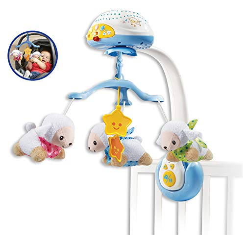 VTech - Móvil proyector cuenta ovejitas, juguete de cuna para bebé, más de 70 nanas, canciones, sonidos y frases, incluye mando a distancia (3480-503322)