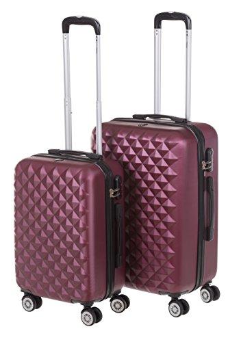 Hartschale Kofferset MONACO 2-teilig Gr. M+L, 56+65cm, 42+68 Liter mit 360° Rollen und Zahlenschloss verschiedene Farben (iced bordeaux)