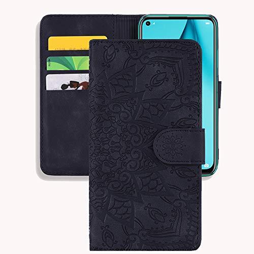 Capa carteira XYX para Samsung Galaxy S20+ Plus SM-G985/S20+ Plus 5G SM-G986, capa carteira flip de couro PU retrô em relevo flor 3D com compartimentos para cartão e alça de pulso, preta