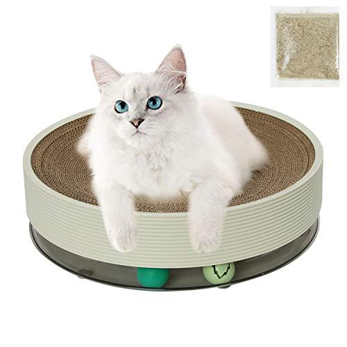 DRESSPLUS Cat Scratcher Cardboard 3-in-1 Cat Lounge Bed and Scratcher Corrugated Cardboard Round Cat Scratch Pad Cat Toys Interactive Track Toy with Balls (White)