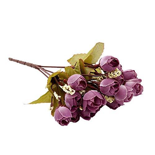 Dianmu 1 X Rose Blumen Strauß Blumendekoration Künstliche Seiden Blumen DIY Auto Schmuck Dekoration Groß für Hochzeit Garten Geschäft Gaststätte Desktop Kamin Dekoration