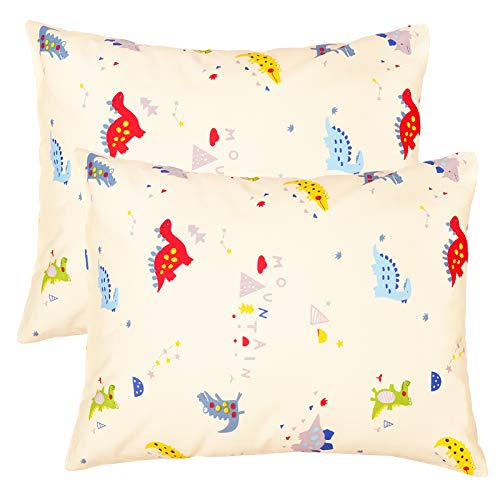 ZPECC Toddler Travel Pillowcases 2 Pack, 14x19 Organic Cotton Pillow Cover Fits Kids Pillows Sized 13x18 or 14x19, Hypoallergenic Envelope Closure Pillow Covers (Small Dinosaur)