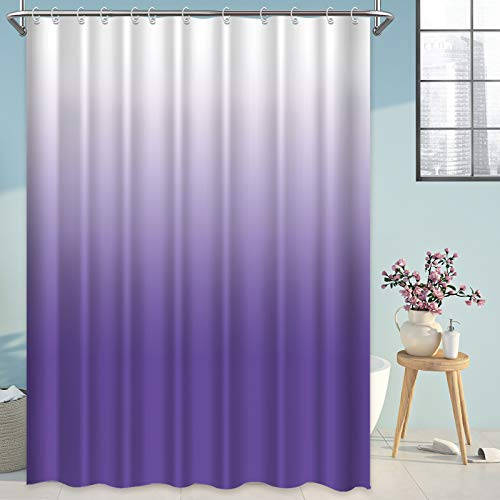 Shower Curtain Purple Gradual Ombre Color Design for Waterproof Modern Home Bathroom Decorations, Standard 72X72inch