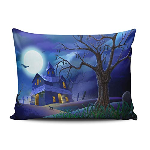 ANLIPU Personalized Decorative Pillowcases Spooky House Bats Cat Night Full Moon Holidays Halloween Throw Pillow Covers Cases Boudoir Rectangular Size 12x16 Inches Print on One Side