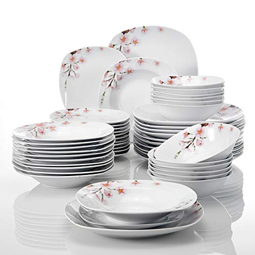 VEWEET Annie Juegos de 48 Piezas Vajillas de Porcelana con 12 Cuencos de Cereales, 12 Platos, 12 Platos de Postre y 12 Platos Hondos para 12 Personas