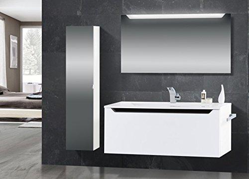 Novelli Badmöbel Set mit Waschtisch 120 cm, Schwarz Hochglanz Griffleiste