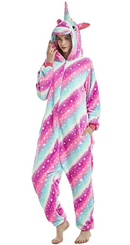 Adulto e Bambino Unisex Unicorno Tigre Leone Volpe Tutina Animale Cosplay Pigiama Costume di Carnevale di Halloween Fancy Dress Loungewear (Unicorn Star-Sky, M Altezza di 155-165 cm)
