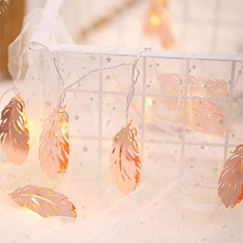 Uonlytech Feather String Lights, Rose Gold Feather LED String Lamp, Fairy String Lights for Party Christmas(10 LED, 1.5 M)