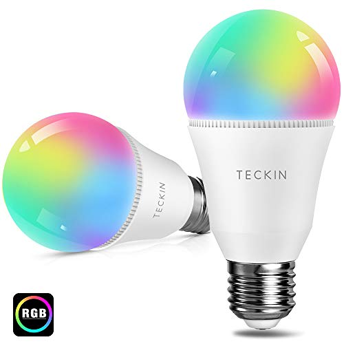 Smart Led Light Bulb, Alexa RGB Color Changing Light Bulb, TECKIN E27 A19 60W Equivalent, Compatible with Alexa, Google Home and IFTTT, Cold and Warm Light 2800K-6000K, WiFi Control Bulb (2 Packs)