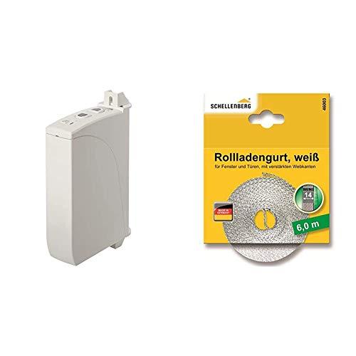 Schellenberg 22735 Elektrischer Gurtwickler Aufputz RolloDrive 35, bis 4 m² Rollladenfläche, für 14 bis 15 mm Gurtbreite, Zugkraft 12 kg, mit Zeitautomatik & 46003 Rollladengurt 14 mm x 6 m