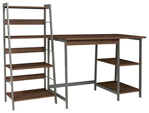 Signature Design by Ashley Soho Modern Home Office Desk & 4-Shelf Bookcase Set, Dark Brown