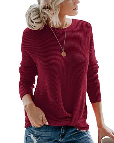 Ehpow Damen Pullover Front Twist Knot Strickpullover Casual Winterpullover Elegant Oberteile (Medium, A-Weinrot)