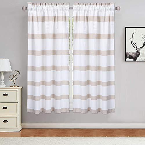 Haperlare Striped Pattern Tier Curtains for Living Room 45 inches Long, Waffle Weave Textured Bathroom Window Curtain Chic Yarn Dyed Stripe Half Window Covering Kitchen Cafe Curtains, Taupe