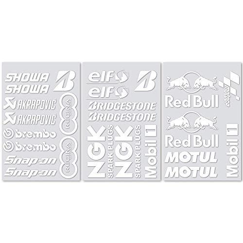 Kit 25 Adesivi Sponsor Tecnici Moto MotoGP Superbike Partners Stickers Bianchi