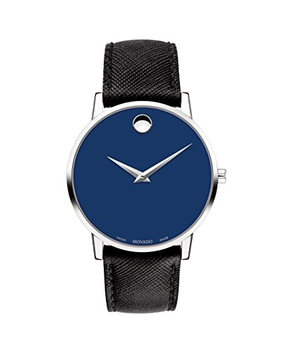 Movado Men's Museum Classic 40mm Black Leather Band Swiss Quartz Watch...