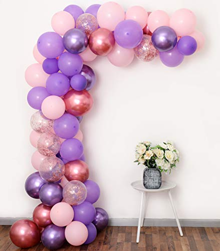 Purple Pink Balloon Garland Kit, 60PCS 12Inch Balloon Garland Including Chrome Purple, Mauve, Pink & Rose Gold Confetti Balloons Backdrop for Birthday Baby Bridal Shower Party Decorations