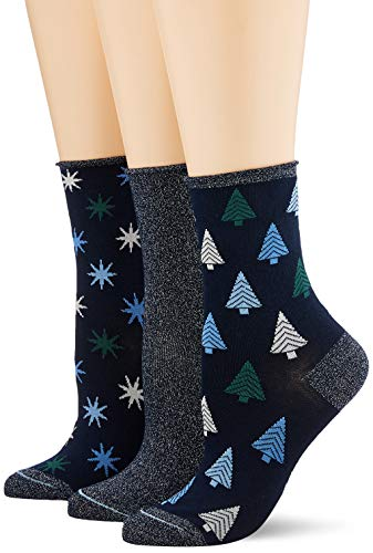 ESPRIT Damen Socken Christmas 3er Pack - Baumwollmischung, 3 Paare, Blau (Marine 6120), Größe: 36-41