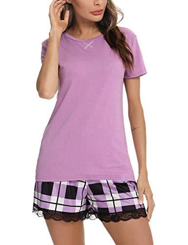Irevial Pijamas para Mujer Verano Cortos,Pijamas de Algodon,Cómodo Camiseta de de Manga Corta y Pantalones de Enrejado Ropa de Dormir 2 Piezas