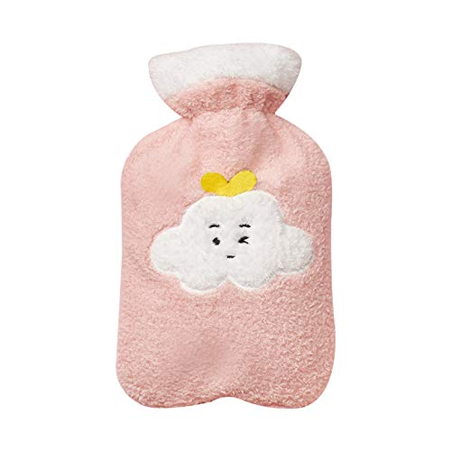Hot water bottle LIU with Pink Flannel Cover, for Hot Compress to Relieve Shoulder and Neck Pain, Keep Hands and Feet Warm, Winter Gift