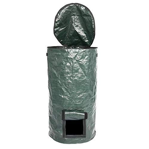 Zolot Garden Waste Bags Yard Waste Container Leaf Bag Collapsible Garden Yard Compost Bag with Lid Organic Ferment Waste Composter-S