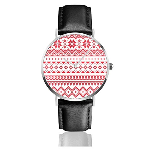 Men's Fashion Minimalist Wrist Watch Quartz Wrist Watch Lapland Winter Sami Leather Strap Watch