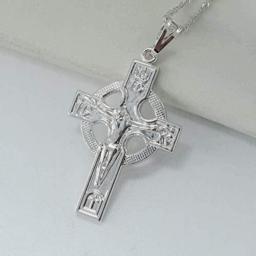 Yiffshunl Collar Mujer Iglesia ortodoxa Rusa Cruz Collar Colgantes para Mujer Color Plata Cruces joyería círculo Cristianismo