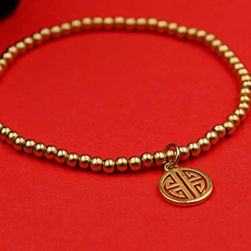 Cosaike Natural Feng Shui Pulsera curativa Lucky Openwork Tarjeta de Talla Charm Balance Pulsera con Cuentas 14k Joyería de Vacaciones Chapado en Oro Amuleto Atraer Dinero Prosperidad Suerte