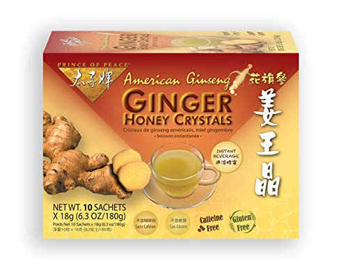 Prince of Peace Instant American Ginseng Ginger Honey Crystals, 10 Sachets – Instant Hot or Cold Beverage for Nausea Relief and Soothes Throat – Easy to Brew Ginger and Honey Crystals – Drink Like a