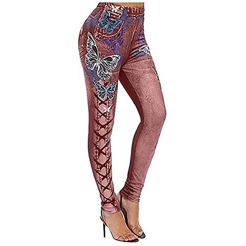 MGHH Mono para mujer de verano con estampado de mariposas, pantalones de yoga y pantalones vaqueros, Vino, M