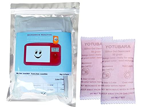 Microwave Rechargable Silica Gel Packs 50Gram [6 Packs] Silica Gel Packet, Safe Non Toxic Silica Gel Bag, Silica Gel Desiccant