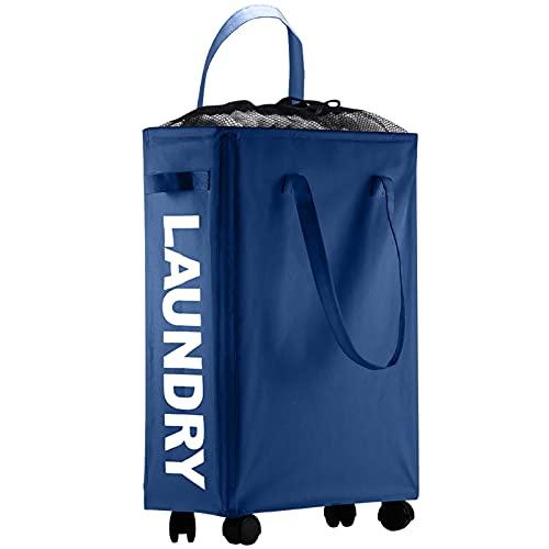 IHOMAGIC 40L スリムランドリータブ おしゃれで ランドリーランドリーバスケット - キャスター付き柔軟な日常ストレージバッグ 大学アパート用 折り畳み式のソーター車輪付き高細くて汚れたランドリーバッグは小さなスペースでランドリー洗濯ボックス (