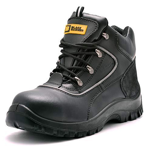 para Hombre de Piel de Botas de Seguridad para Hombre Puntera de Acero de Seguridad Botas de Seguridad S3 SRC Calzado de Trabajo Tobillo Piel 7752 Black Hammer (44 EU)