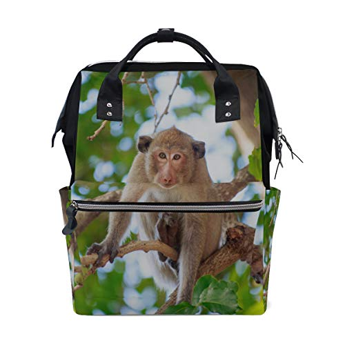Cute Stupid Monkey Animal Bolsas de pañales de gran capacidad Mamá Mochila Múltiples funciones Bolso de enfermería Bolso de mano para niños Cuidado del bebé Viajes Mujeres diarias