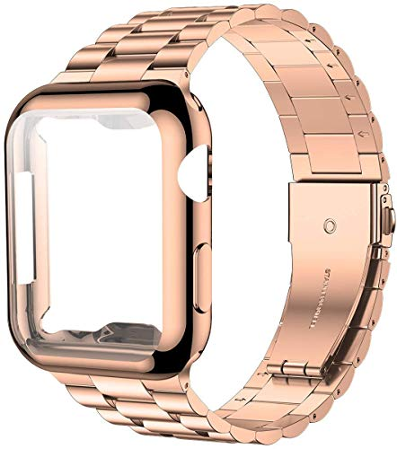 iitee Compatible with Apple Watch Strap 42mm Series 3 2 1, Upgraded Stainless Steel Link Replacement Band with iWatch Screen Protector Case Rose Gold