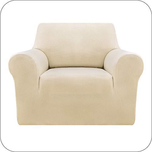 Amazon Brand - Umi Sofabezug Sofa Überzug Jacquard SofaüberwurfStretch Couchhusse Sesselbezug 1-Sitzer Beige