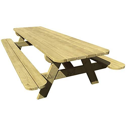 Wood Structure Table de Jardin XL en Sapin du Nord pour 8/10 Personnes - Table Pique-Nique