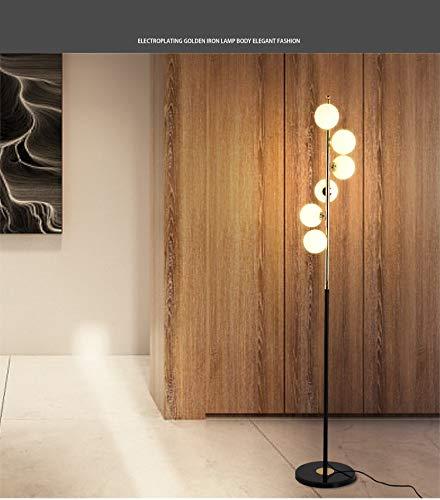 LILICEN Lámpara de Suelo Nordic Simple Lámparas de Suelo for la Sala de Estar de pie Bola de Cristal Luz de Oro Dormitorio de la lámpara Arte Creativo decoración del hogar Iluminación