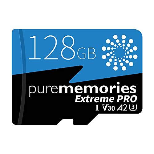 purememories Extreme Pro 2021 128GB Scheda di Memoria Micro SD App Performance A2, U3, 100/70 MB/Sec (R/W) Micro SDXC per Samsung, Xiaomi, Huawei, GoPro, Canon, Nikon, Tablet, Garanzia 5 Anni