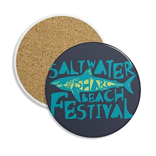 DIYthinker zoutwater haai strand festival keramische onderzetter Cup mok houder absorberende steen voor dranken 2 stks gift