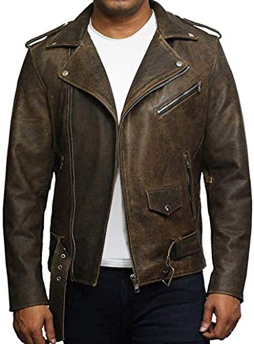BRANDSLOCK Mens Genuine Leather Biker Jacket Cowhide Brando Rustic (Large) Brown