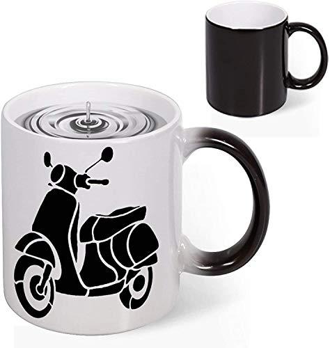 Heat Reveal Ceramic Taza de café de 11 oz Silueta de scooter Vehículo de motor Transporte Taza de novedad que cambia de color Taza de decoloración creativa Taza de arte divertido Navidad