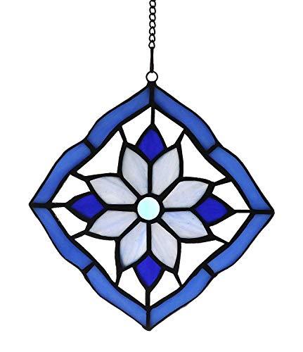 Alivagar Stained Glass Windows Hanging Suncatchers Flower Blue, 6 x 6