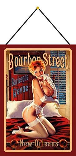 Cartel de chapa 20 x 30 cm, arqueado con cordón, diseño de Bourbon Street Burlesque Revue New Orleans sexy Pinup decoración regalo