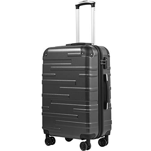 COOLIFE Hartschalen-Koffer Rollkoffer Reisekoffer Vergrößerbares Gepäck (Nur Großer Koffer Erweiterbar) ABS Material mit TSA-Schloss und 4 Rollen(Grau, Mittelgroßer Koffer)