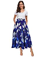 Afibi Women High Waist Floral Print Swing Chiffon Beach Midi Long Skirt with Pockets (Medium, Royal Blue)