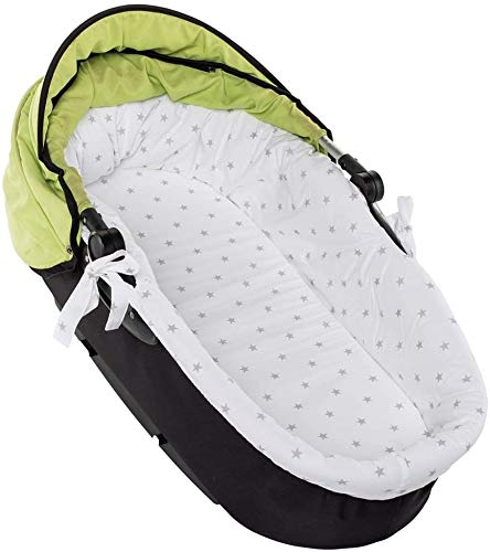 RS-Italy - Juego para cochecito de bebé fabricado en la UE - Compuesto de colchón, capazo, desenfundable, 75 x 34 x 2,5 cm + funda para capazo de bebé Stelle