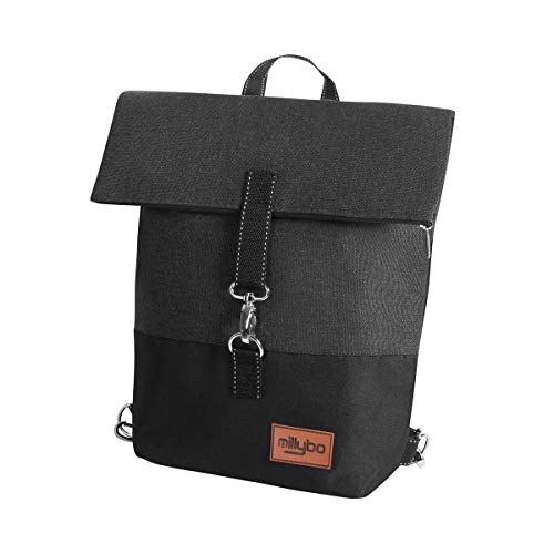 millybo Sweet Fahrradtasche Gepäckträgertasche Damen Rucksack Backpack (801.005 Black/White)