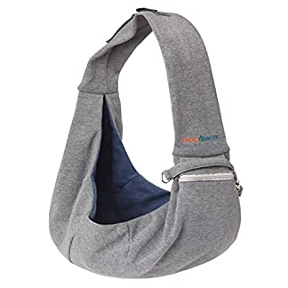 BuddyTastic Pet Sling Carrier Dog Bag | Reversible and Hands-Free | Adjustable Strap and Pocket | Comfortable Travel with Dog Cat Puppy | Up to 15 lbs 18