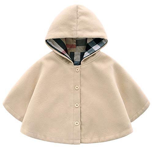 MaxKids Baby and Toddler Boys & Girls Wool Blend Winter Hooded Outerwear Capes Poncho Coat, Apricot, 3T